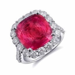 Natural Pink Sapphire 7.25 carats set in Platinum Ring with 2.06 carats Diamonds / GIA Report