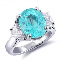Natural Paraiba Tourmaline 7.11 carats set in Platinum Ring with 1.01 carats Diamonds / GIA Report