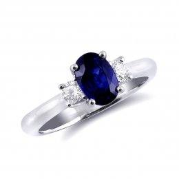 Natural Blue Sapphire 1.21 carats set in 18K White Gold Ring with 0.25 carats Diamonds