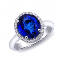 Natural Blue Sapphire 4.05 carats set in 18K White Gold Ring with 0.23 carats Diamonds / GIA Report