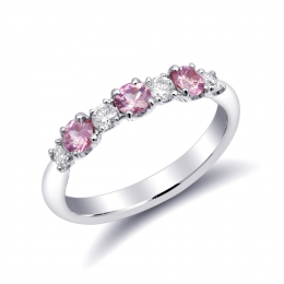 Natural Pink Sapphires 0.57 carats set in 18K White Gold Ring with 0.27 carats Diamonds