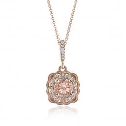 Natural Morganite 0.83 carats set in 14K Rose Gold Pendant with 0.12 carats Diamonds