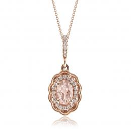 Natural Morganite 0.80 carats set in 14K Rose Gold Pendant with 0.11 carats Diamonds
