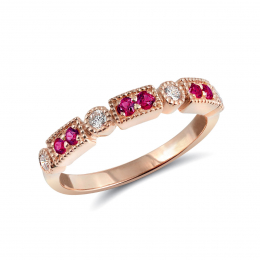 Natural Pink Sapphires 0.21 carats set in 14K Rose Gold Stackable Ring with 0.16 carats Diamonds