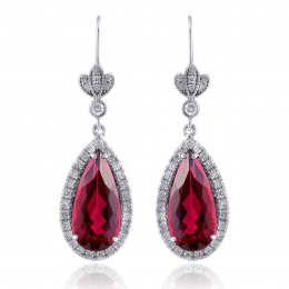 Natural Fire Engine Red Rubellites 5.67 carats set in 18K White Gold Earrings with 0.44 carats Diamonds