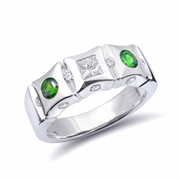 Natural Russian Demantoid Garnet 0.36 carats set in 14K White Gold Ring with 0.46 carats Diamonds