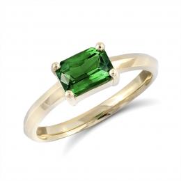Natural Tsavorite 1.11 carats set in 14K Yellow Gold Ring