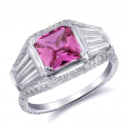 Natural Unheated Pink Sapphire 1.60 carats set in 18K White Gold Ring with 1.58 carats Diamonds / GIA Report