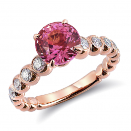 Natural Unheated Pink Sapphire 2.21 carats set in 18K Rose Gold Ring with 0.50 carats Diamonds / GIA Report