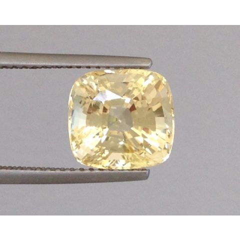 Natural Unheated Yellow Sapphire yellow color cushion shape 5.51 carats with GIA Report