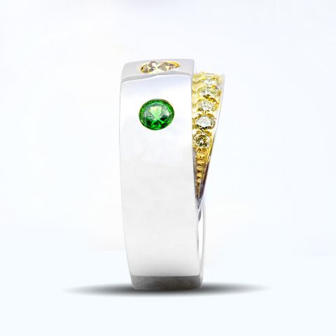 Natural Russian Demantoid Garnet 0.33 carats set in 14K White and Yellow Gold Ring with 0.49 carats Yellow Diamonds