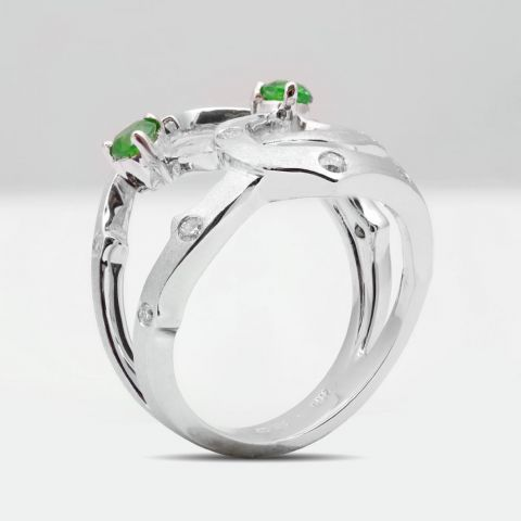 Natural Russian Demantoid Garnet 0.44 carats set in 14K White Gold Ring with 0.29 carats Diamonds