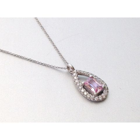 Natural Unheated Padparadscha Sapphire 0.51 carats set in 14K White Gold Pendant with 0.23 carats Diamonds/ GRS Report