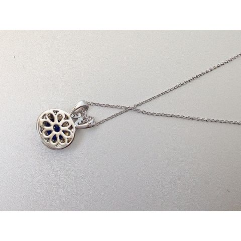 Natural Blue Sapphire 0.60 carats set in 14K White Gold Pendant with 0.10 carats Diamonds