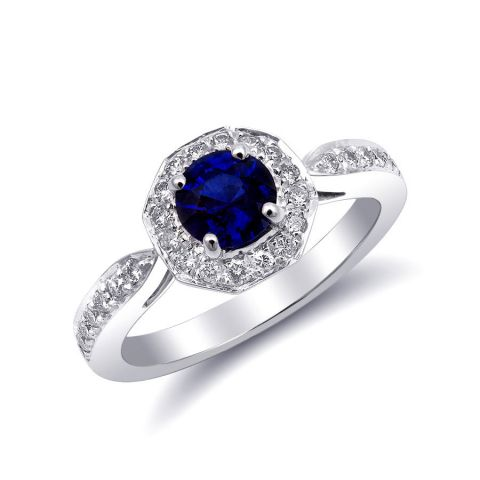 Natural Blue Sapphire 0.81 carats set in 14K White Gold Ring with 0.32 carats Diamonds