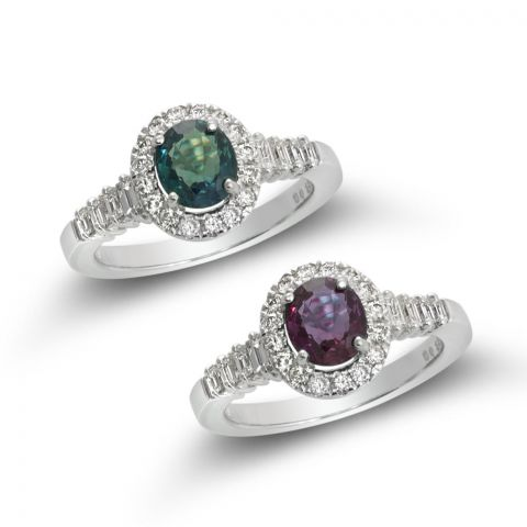 Natural Alexandrite with excellent color change 1.23 carats set in 14K White Gold Ring with Diamonds / GIA Report & video