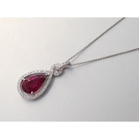Natural Rubellite 1.72 carats set in 14K White Gold Pendant with 0.16 carats Diamonds