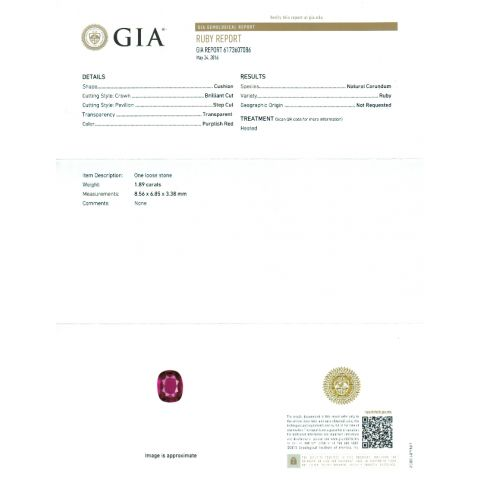 Natural Ruby 1.89 carats with GIA Report