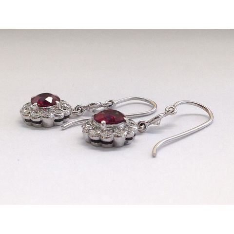 Natural Ruby 1.94 carats set in 18K White Gold Earrings with 0.93 carats Diamonds with The Gem and Jewelry Institute of Thailand Report