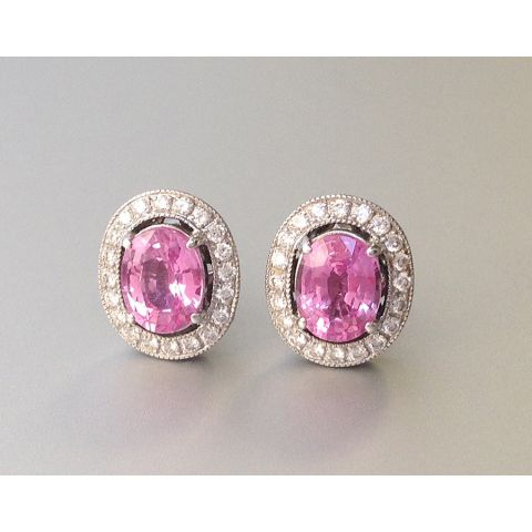 Natural Pink Sapphire 2.42 carats set in 18K White Gold Earrings with Diamonds