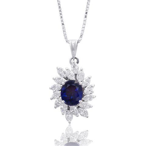Natural Blue Sapphire 2.55 carats set in Platinum Pendant with 1.43 carats Diamonds
