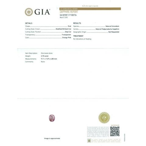 Natural Unheated Padparadscha Sapphire orange pink oval shape 2.70 carats with GIA Report