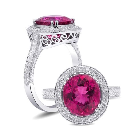Natural Red Rubellite 3.16 carats set in 18K White Gold Ring with 0.16 carats Diamonds