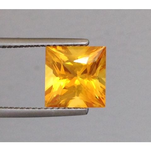 Natural Heated Yellow Sapphire yellow color princess cut shape 3.76 carats with GIA Report / video