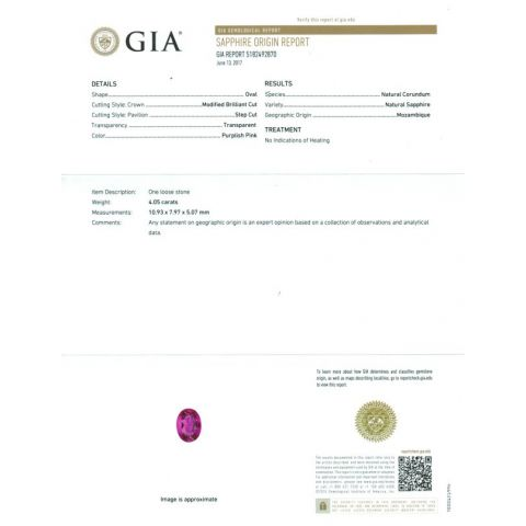 Natural Unheated Pink Sapphire 4.05 carats set in 14K White Gold Ring with 1.11 carats Diamonds / GIA Report
