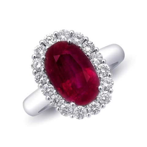 Magnificent Natural Ruby Engagement Anniversary Ring  4.10cts 18K White Gold