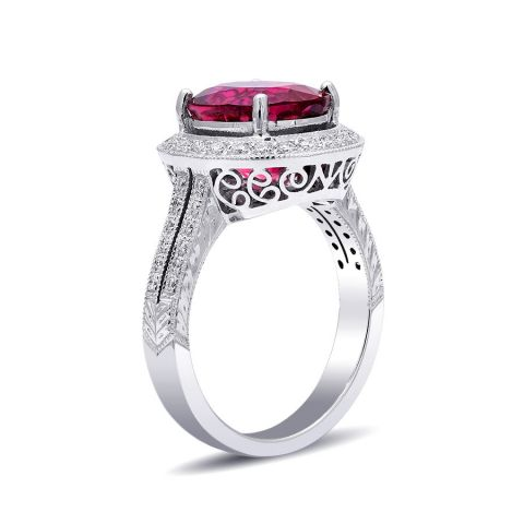 Natural Rubellite 4.59 carats set in 18K White Gold Ring with 0.45 carats Diamonds