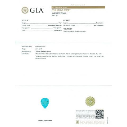 Extremely Rare Paraiba Tourmaline 6.84 carats with GIA Report