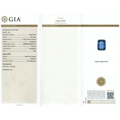 BLUE SAPPHIRE 6.99cts GIA CERTIFIED - SOLD