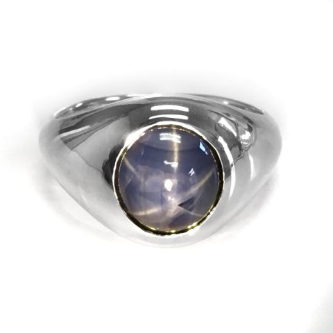 Natural Burma Blue Star Sapphire 7.96 carats set in 14K White Gold Men's Ring