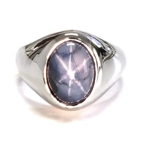 Natural Burma Blue Star Sapphire 9.00 carats set in 14K White Gold Men's Ring