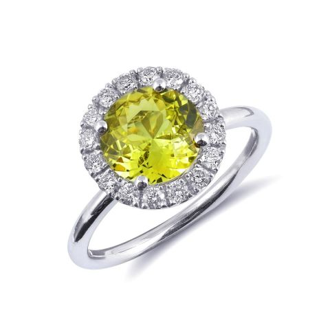 Natural Chrysoberyl 1.75 carats set in 14K White Gold Ring with 0.31 carats Diamonds