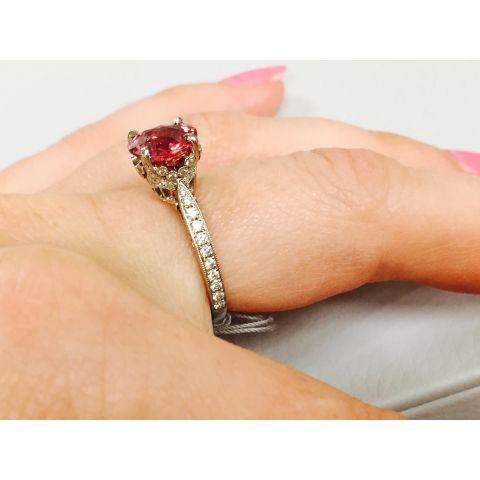 Natural Unheated Padparadscha Sapphire 2.12 carats set in Platinum Ring with Diamonds
