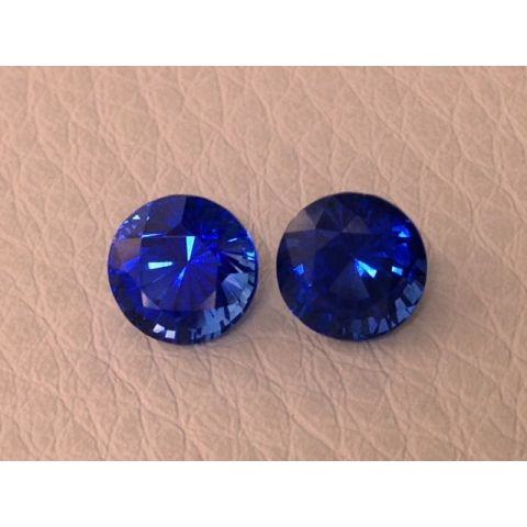 Natural Heated Blue Sapphire Pair deep blue color round shape 2.68 carats