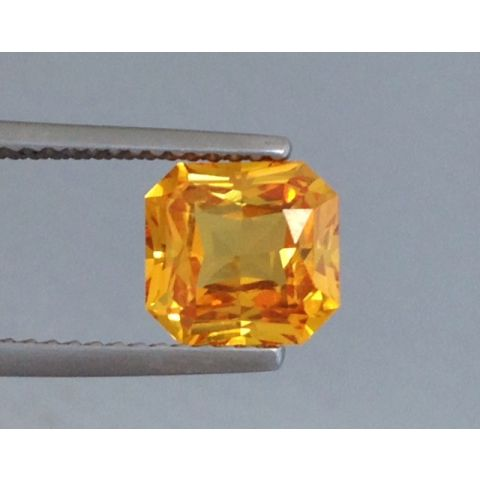 Natural Heated Yellow Sapphire orange-yellow color octagonal shape 2.23 carats with GIA Report