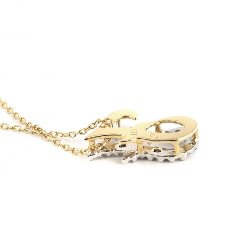"""Initial """"F"""" Pendant with Diamonds 0.12 carats, 14K White and Yellow Gold, 18"""" Chain"""