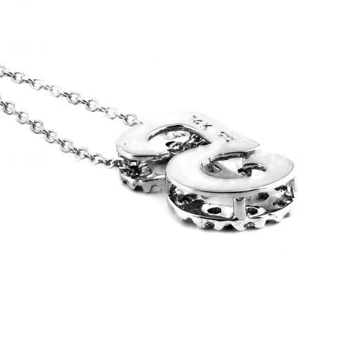 """Initial """"G"""" Pendant with Diamonds 0.14 carats, 14K White Gold, 18"""" Chain"""
