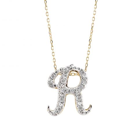 """Initial """"R"""" Pendant with Diamonds 0.13 carats, 14K White and Yellow Gold, 18"""" Chain"""