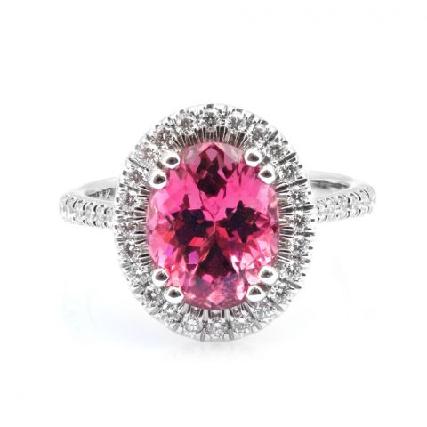 Natural Pink Spinel 3.42 carats set in 18K White Gold Ring  with 0.38 carats Diamonds / GRS Report
