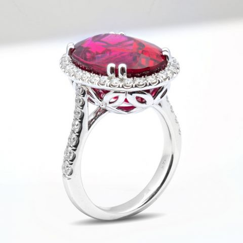 Natural Rubellite 13.45 carats set in 14K White Gold Ring with 0.85 carats Diamonds