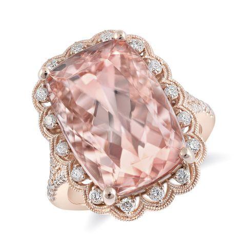 Natural Morganite 11.55 carats set in 14K Rose Gold Ring with 0.42 carats Diamonds