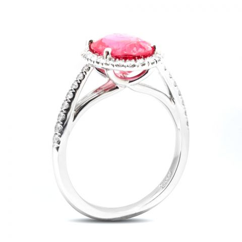 Natural Spinel 3.18 carats set in Platinum Ring with 0.44 carats Diamonds / GRS Report