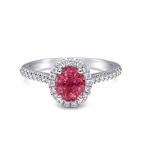 Natural Padparadscha Sapphire 1.56 carats set in Platinum Ring with 0.28 carats Diamonds