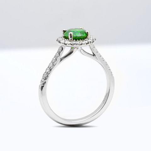 Natural Demantoid Garnet 1.17 carats set in Platinum Ring with 0.38 carats Diamonds / GIA Report