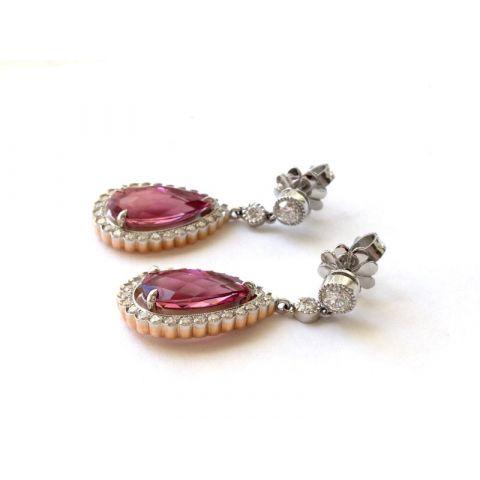 Natural Pink Tourmaline 6.42 carats set in Platinum & 18K Yellow Gold Earrings with 1.26 carats Diamonds