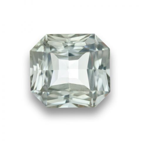 Natural Heated White Sapphire near coloress octagonal shape 3.27 carats with GIA Report